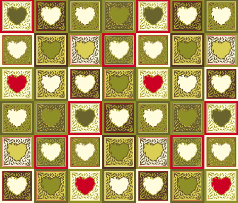 Antique Holly Hearts - Quilt fabric by rhondadesigns on Spoonflower - custom fabric