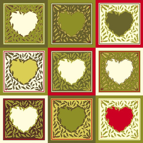 Antique Holly Hearts - Quilt
