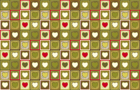 Antique Holly Hearts -  Mini Quilt