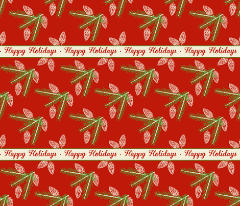 Green pine sprays ~ Happy Holidays fabric by retrorudolphs on Spoonflower - custom fabric