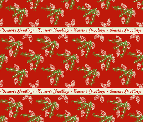 Green pine sprays ~ Season's Greetings fabric by retrorudolphs on Spoonflower - custom fabric