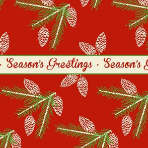 Green pine sprays ~ Season's Greetings