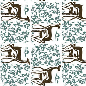 New deer and grapes - linen teatowel - vector-double - brown30-minagreen-white