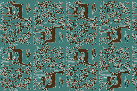 New deer & grapes - vector double - very large - adobe1998 - brown30-minagreen-white-lines-2pt