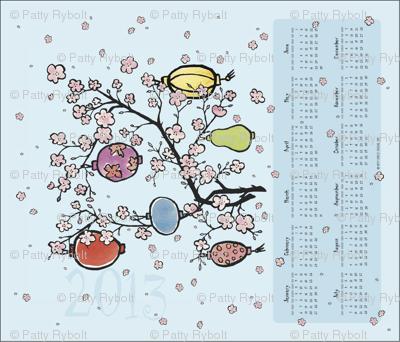 2013 Calendar Tea Towel ll- Cherry Blossoms & Paper Lanterns