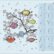 2013 Calendar Tea Towel ll- Cherry Blossoms &amp; Paper Lanterns 