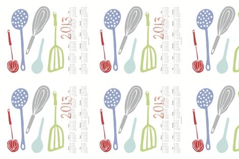 Magic Kitchen Tools (multi) -- 2013 Tea Towel Calendar  fabric by pattyryboltdesigns on Spoonflower - custom fabric