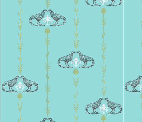 Kissing Birds  fabric by the_spun_angora on Spoonflower - custom fabric