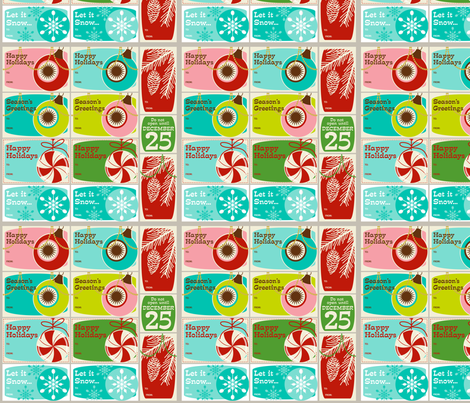 'Tis the Season Too! ~ Gift Tags ~ set no. 1 fabric by retrorudolphs on Spoonflower - custom fabric
