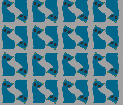 Gatinho_azul_twin fabric by pink_koala_design on Spoonflower - custom fabric