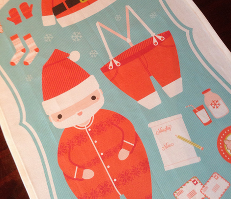 Santa tea towels &amp; potholder