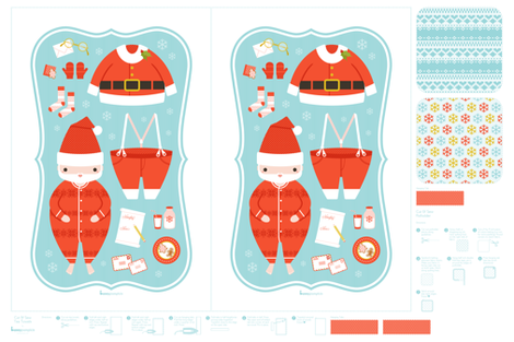 Santa tea towels & potholder fabric by bunnypumpkin on Spoonflower - custom fabric