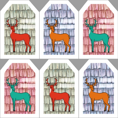 Sweet deer gift tags fabric by lucybaribeau on Spoonflower - custom fabric