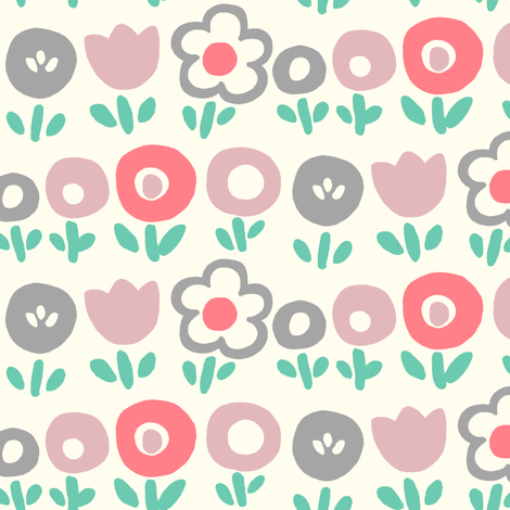 Hello Spring (coral) fabric by leanne on Spoonflower - custom fabric
