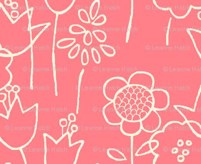 Drawn Floral (coral)