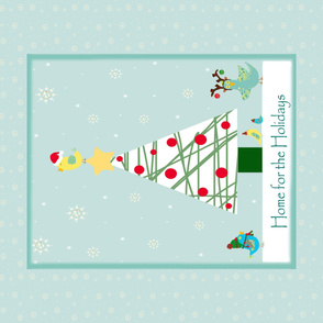 Christmas Birdies Cheater Quilt