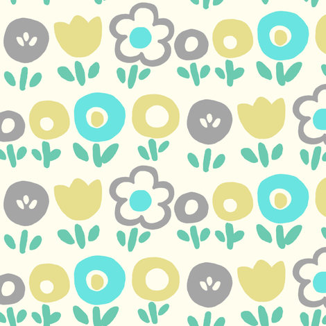 Hello Spring (blue) fabric by leanne on Spoonflower - custom fabric
