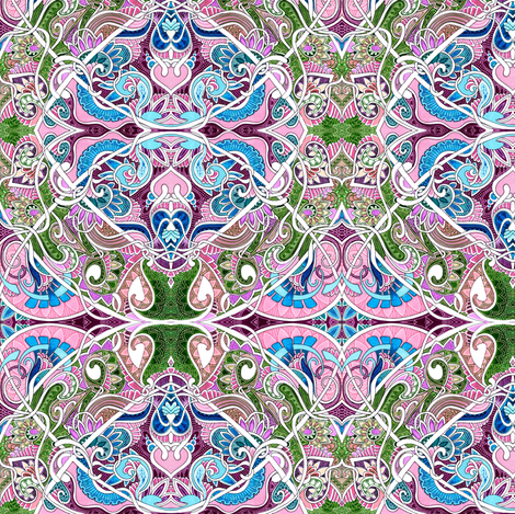 Pseudo Nouveau Mossy Fairy Garden fabric by edsel2084 on Spoonflower - custom fabric