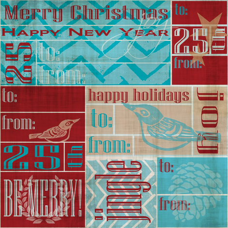 An Event to Remember - Christmas Labels fabric by owlandchickadee on Spoonflower - custom fabric