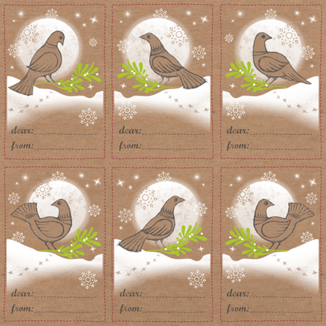 Snow Dove Gift Tags fabric by forest&sea on Spoonflower - custom fabric