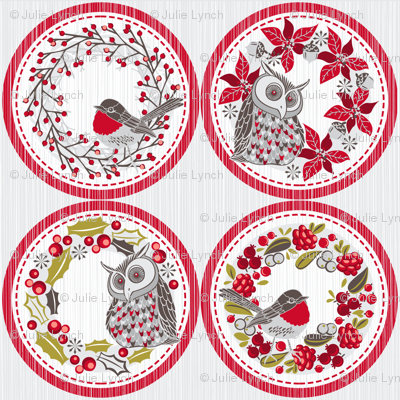 Christmas wreath tags (decorations / coasters)