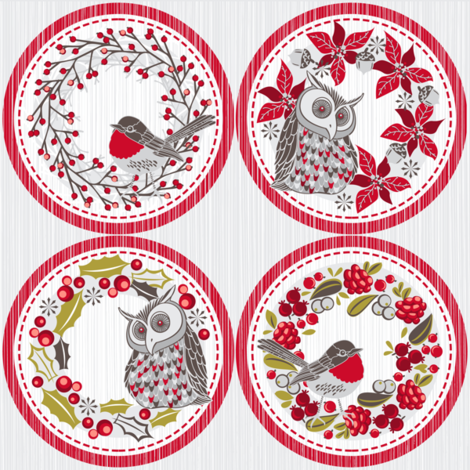 Christmas wreath tags (decorations / coasters) fabric by cjldesigns on Spoonflower - custom fabric