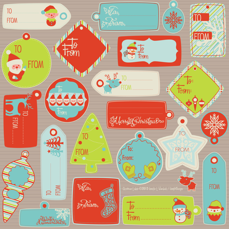 A Swell Noel gift tags fabric by jennartdesigns on Spoonflower - custom fabric