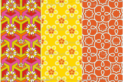 Three 16&quot; pillows in 1 yard - Orange Geometric