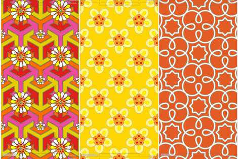 Three 16&quot; pillows in 1 yard - Orange Geometric fabric by anntuck on Spoonflower - custom fabric