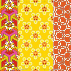 """Three 16"""" pillows in 1 yard - Orange Geometric"""