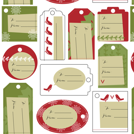Red Bird Gift Tags fabric by jenimp on Spoonflower - custom fabric