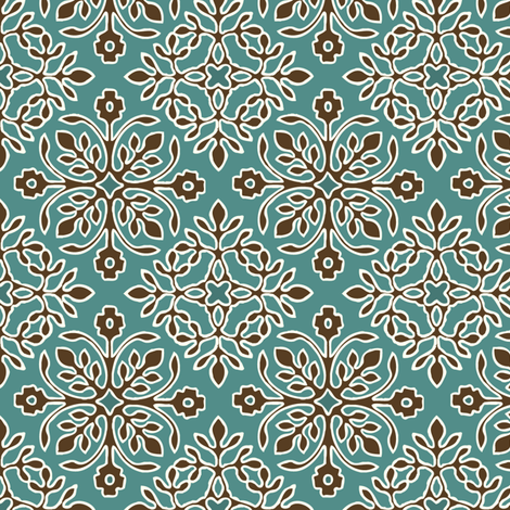2-Papercuts diagonal - vector - with outlines - brown & cream on bluegreen-sm fabric by mina on Spoonflower - custom fabric