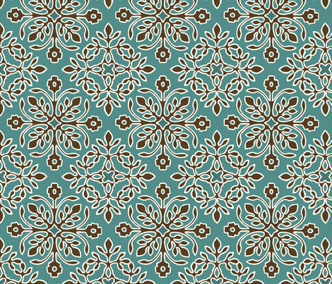 2-Papercuts diagonal - vector - with outlines - brown & cream on bluegreen-lg fabric by mina on Spoonflower - custom fabric