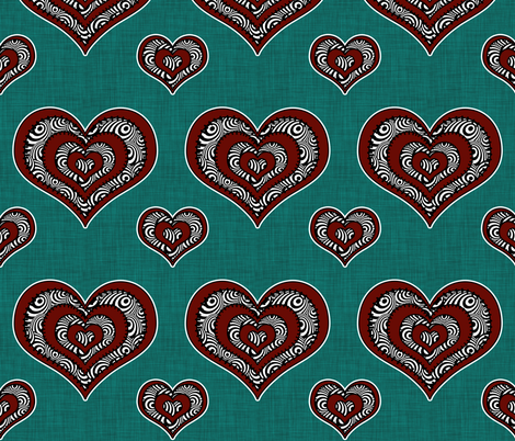 Voodoo Hearts on teal large fabric by glanoramay on Spoonflower - custom fabric