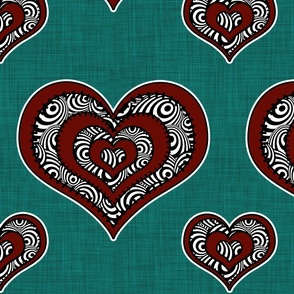 Voodoo Hearts on teal large