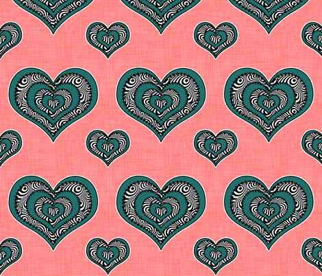 Voodoo Hearts on pink large fabric by glanoramay on Spoonflower - custom fabric