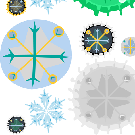 *Snowflakes* fabric by akwaflorell on Spoonflower - custom fabric