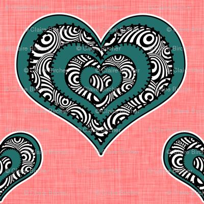 Voodoo Hearts on pink medium