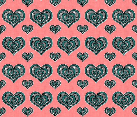 Voodoo Hearts on pink medium fabric by glanoramay on Spoonflower - custom fabric