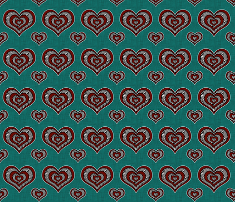 Voodoo Hearts on teal small fabric by glanoramay on Spoonflower - custom fabric