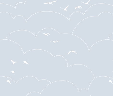 flying high - pale gray blue fabric by ravynka on Spoonflower - custom fabric