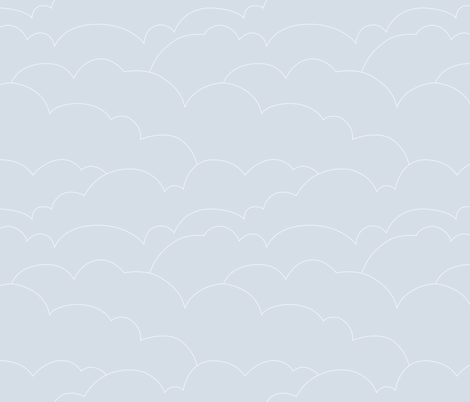 skyline clouds - pale gray blue fabric by ravynka on Spoonflower - custom fabric
