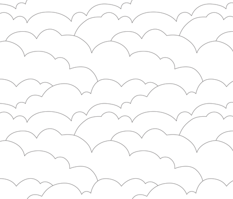 skyline clouds - black on white fabric by ravynka on Spoonflower - custom fabric