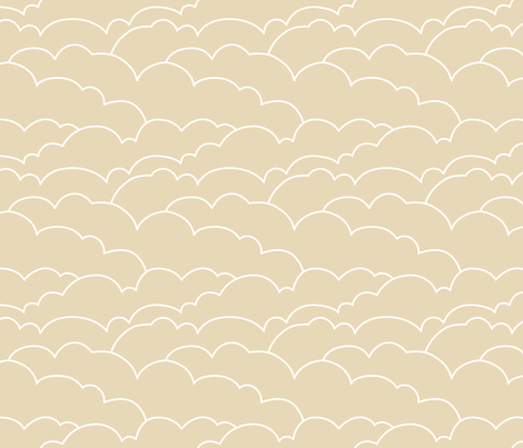 skyline clouds - latte fabric by ravynka on Spoonflower - custom fabric