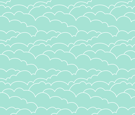 skyline clouds - mint fabric by ravynka on Spoonflower - custom fabric