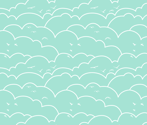 flying high - mint fabric by ravynka on Spoonflower - custom fabric