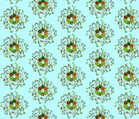 Daisy_Chain_Floral_on_Aqua fabric by patsijean on Spoonflower - custom fabric