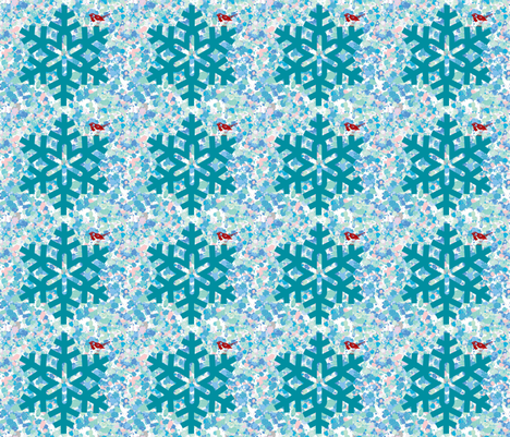 Snowflake & Redbird fabric by owlandchickadee on Spoonflower - custom fabric