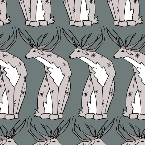 Deer on Blue fabric by pond_ripple on Spoonflower - custom fabric