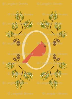 Yellow red winter bird